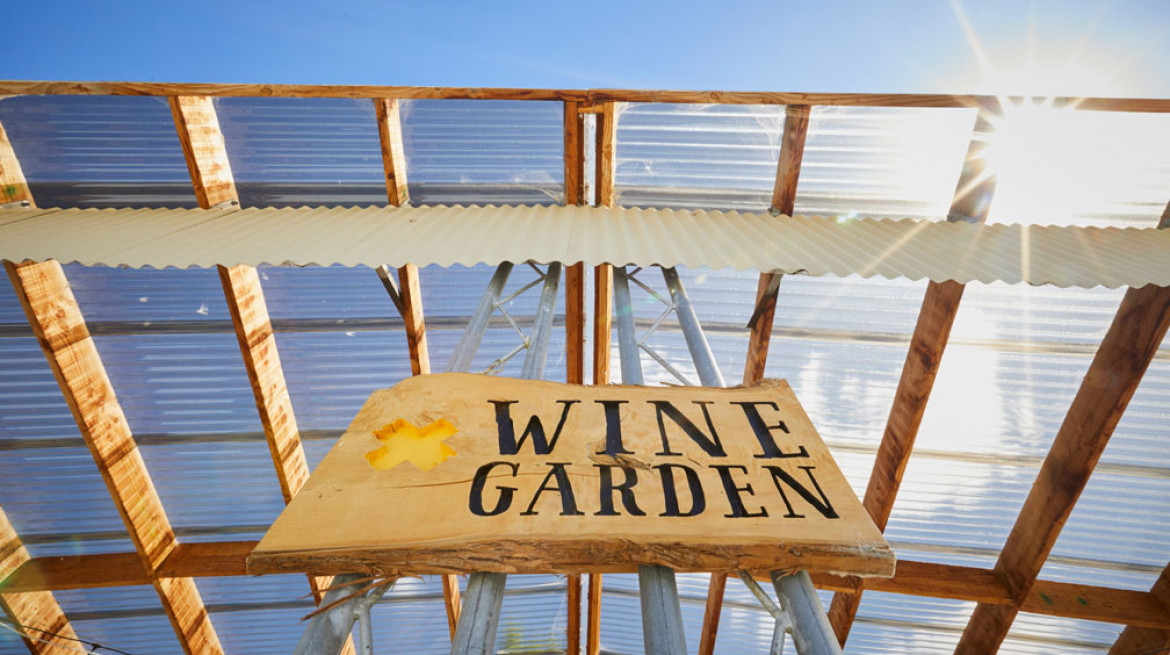 Wine Garden Sign Sun BlueSky