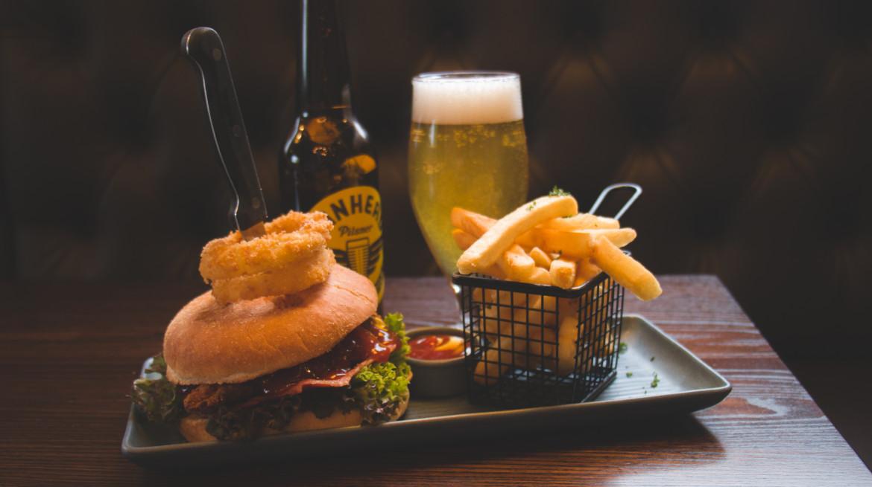 burger fries beer