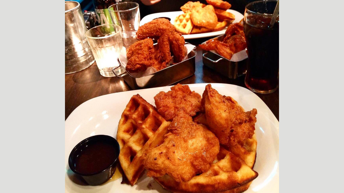 absurd chicken waffles