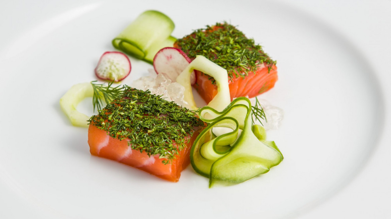 P61 spring menu 2Gin cured salmon e1525872770603