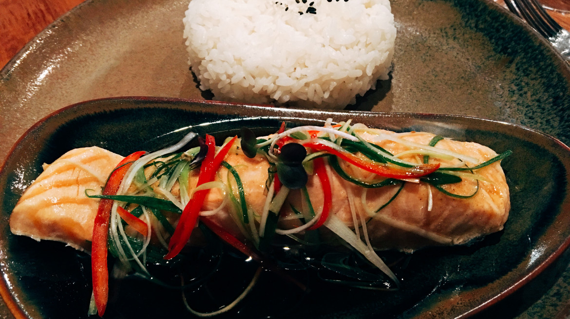 steamed Salmon asian flavour