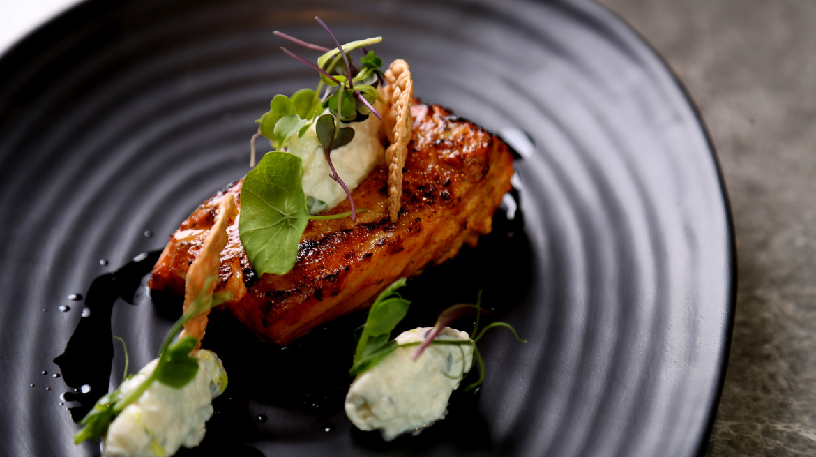 Charcoal fumed chilli tandoori salmon