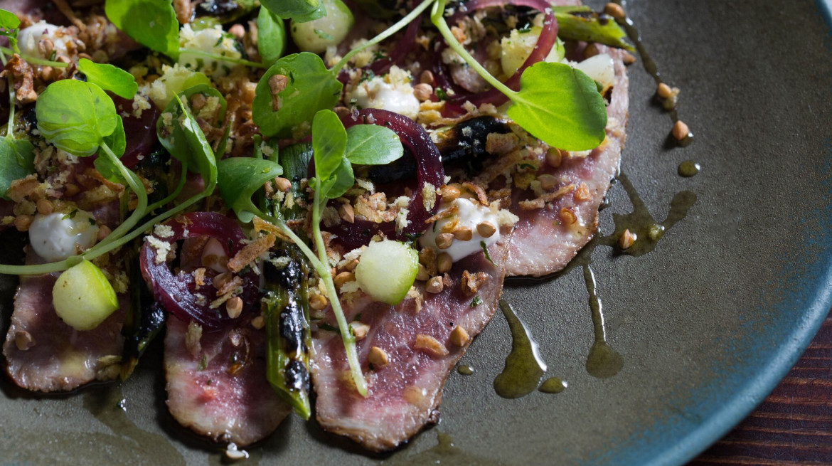 Iberico Pork Carpaccio Yeast Duck Fat Crumb Spring Onions Pickled Shallots preview