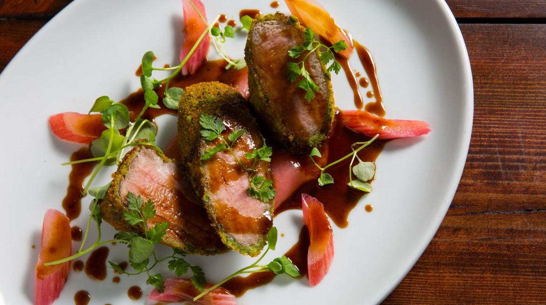 Pork Fillet Pistachio Crumb Rhubarb Cider Jus preview2
