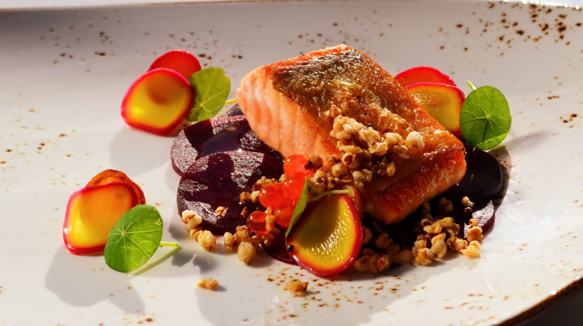 ora king salmon with beetroot and radish by hannes bareiter. glenfalloch restaurant 2048x1200