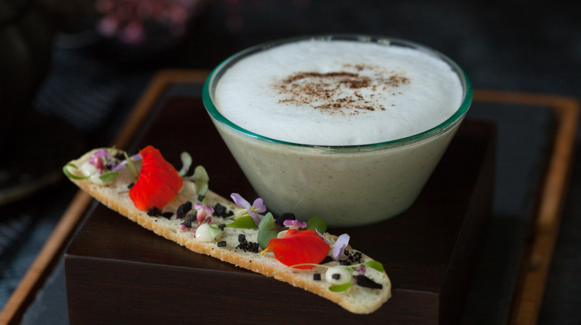 The LUXE signature Mushroom Cappuccino soup