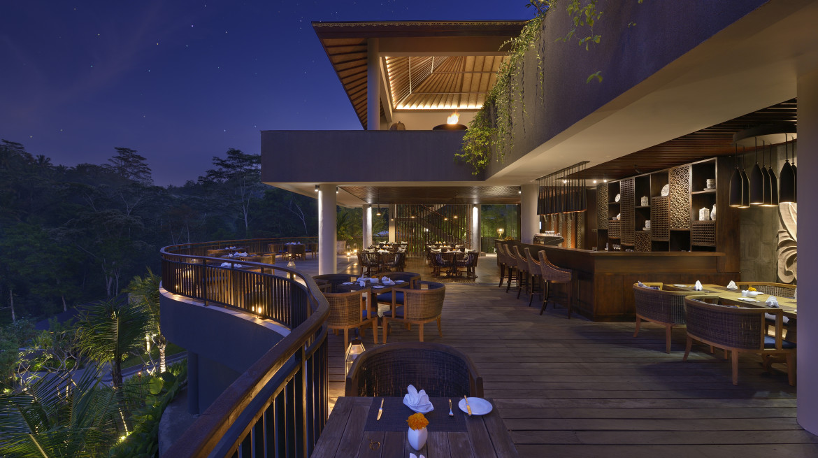 samsara ubud the kelusa evening view