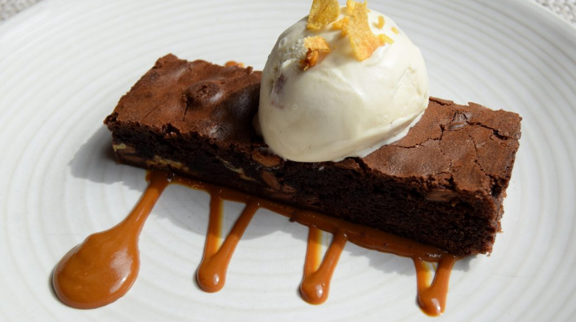Annas Triple Chocolate Brownie with malted cornflake gelato photo by Simon Burrell 1 1030x687