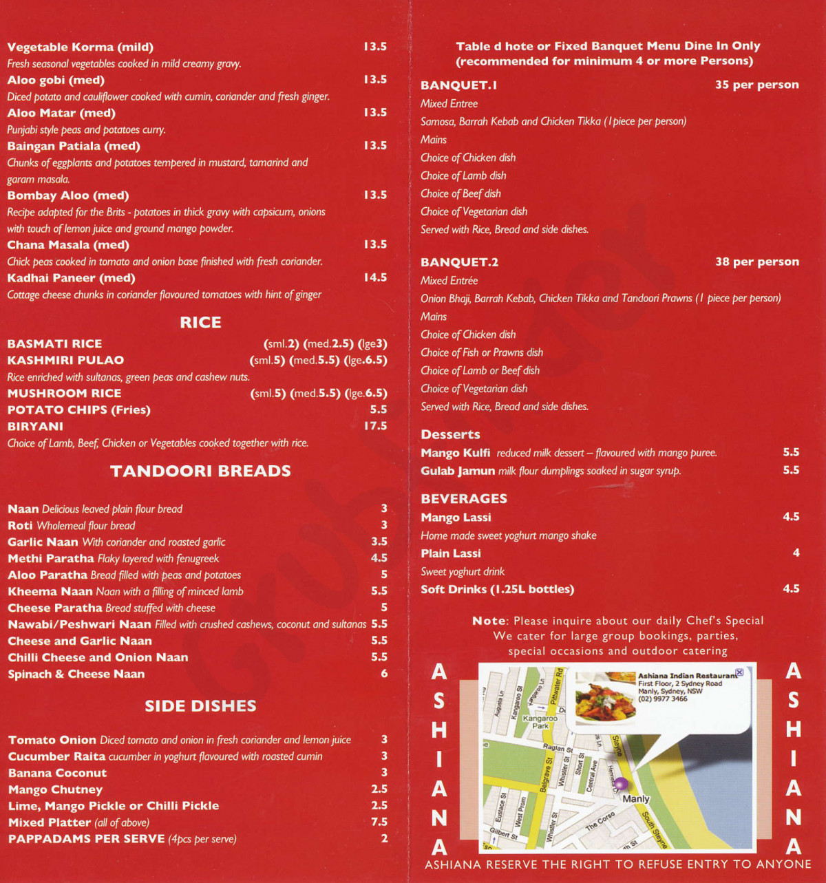Ashiana Indian Restaurant: 50% off the first table of the