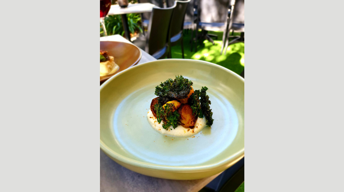 Cauliflower puree brussel sprouts tumeric cauliflower crispy kale July 2019