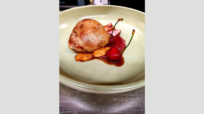 Confit duck leg breast pumpkin beetroot mole cherries Dec 2019