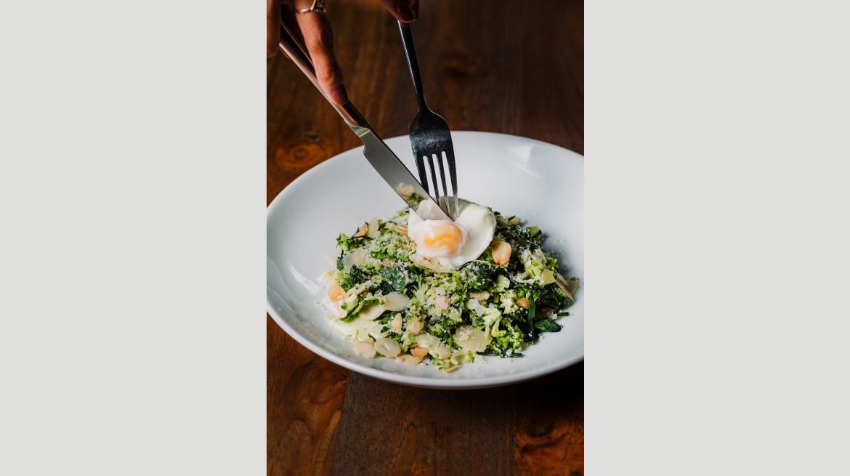 Kale shaved broccoli parmesan poached egg