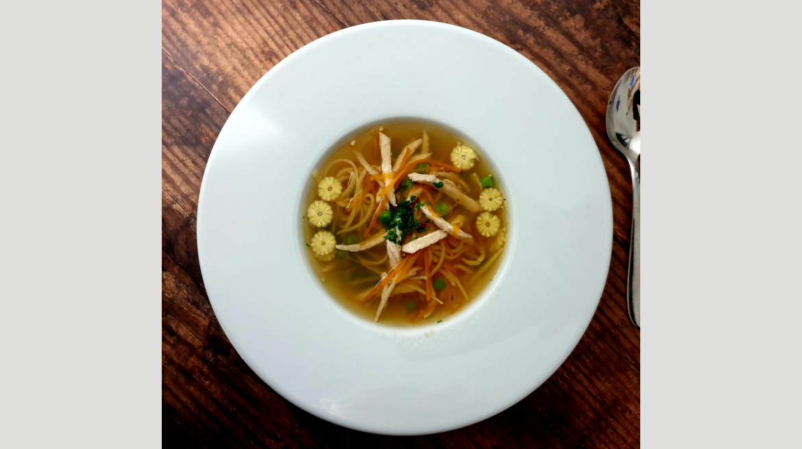 Chicken consomme with capellini and julienne vegetables